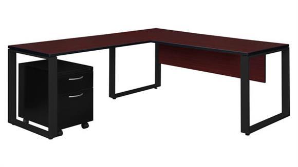 """L Shaped Desks Regency Furniture 72"""" x 30"""" Single Mobile Pedestal L-Shaped Desk with 48"""" Return"""