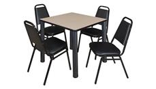 "Cafeteria Tables Regency Furniture 30"" Square Breakroom Table- Beige/ Black & 4 Restaurant Stack Chairs- Black"