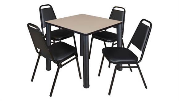 "Cafeteria Tables Regency Furniture 30"" Square Breakroom Table- Beige/ Black & 4 Restaurant Stack Chairs- Black"