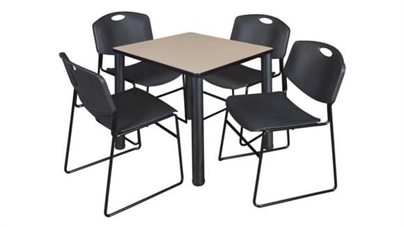 """Cafeteria Tables Regency Furniture 30"""" Square Breakroom Table- Beige/ Black & 4 Zeng Stack Chairs"""