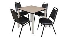 "Cafeteria Tables Regency Furniture 30"" Square Breakroom Table- Beige/ Chrome & 4 Restaurant Stack Chairs- Black"