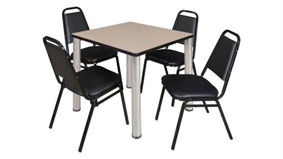 """Cafeteria Tables Regency Furniture 30"""" Square Breakroom Table- Beige/ Chrome & 4 Restaurant Stack Chairs- Black"""