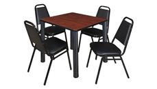 "Cafeteria Tables Regency Furniture 30"" Square Breakroom Table- Cherry/ Black & 4 Restaurant Stack Chairs- Black"