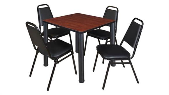 """Cafeteria Tables Regency Furniture 30"""" Square Breakroom Table- Cherry/ Black & 4 Restaurant Stack Chairs- Black"""