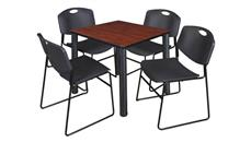 "Cafeteria Tables Regency Furniture 30"" Square Breakroom Table- Cherry/ Black & 4 Zeng Stack Chairs"