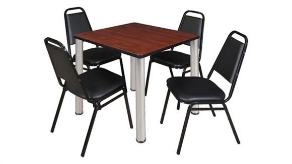 """Cafeteria Tables Regency Furniture 30"""" Square Breakroom Table- Cherry/ Chrome & 4 Restaurant Stack Chairs- Black"""