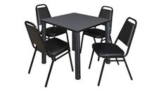 "Cafeteria Tables Regency Furniture 30"" Square Breakroom Table- Gray/ Black & 4 Restaurant Stack Chairs- Black"