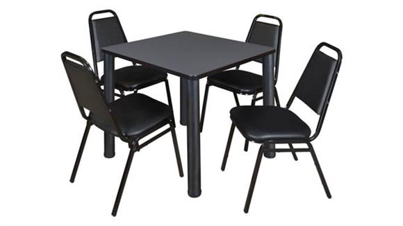 """Cafeteria Tables Regency Furniture 30"""" Square Breakroom Table- Gray/ Black & 4 Restaurant Stack Chairs- Black"""