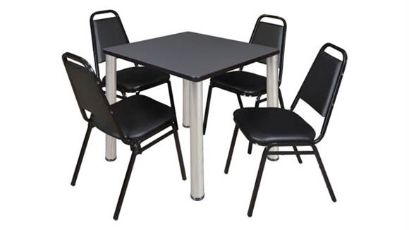 """Cafeteria Tables Regency Furniture 30"""" Square Breakroom Table- Gray/ Chrome & 4 Restaurant Stack Chairs- Black"""