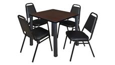 "Cafeteria Tables Regency Furniture 30"" Square Breakroom Table & 4 Restaurant Stack Chairs"