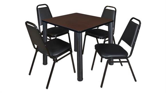 """Cafeteria Tables Regency Furniture 30"""" Square Breakroom Table & 4 Restaurant Stack Chairs"""