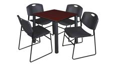 "Cafeteria Tables Regency Furniture 30"" Square Breakroom Table- Mahogany/ Black & 4 Zeng Stack Chairs"
