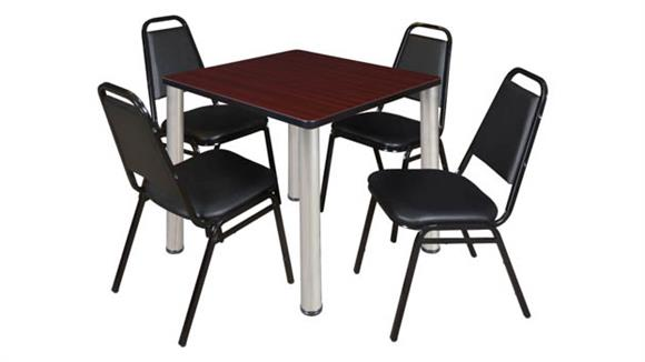 """Cafeteria Tables Regency Furniture 30"""" Square Breakroom Table- Mahogany/ Chrome & 4 Restaurant Stack Chairs- Black"""