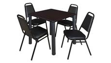 "Cafeteria Tables Regency Furniture 30"" Square Breakroom Table- Mocha Walnut/ Black & 4 Restaurant Stack Chairs- Black"