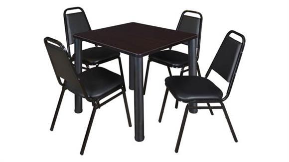 "Cafeteria Tables Regency Furniture 30"" Square Breakroom Table- Mocha Walnut/ Black & 4 Restaurant Stack Chairs- Black"