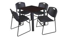 "Cafeteria Tables Regency Furniture 30"" Square Breakroom Table- Mocha Walnut/ Black & 4  Zeng Stack Chairs"
