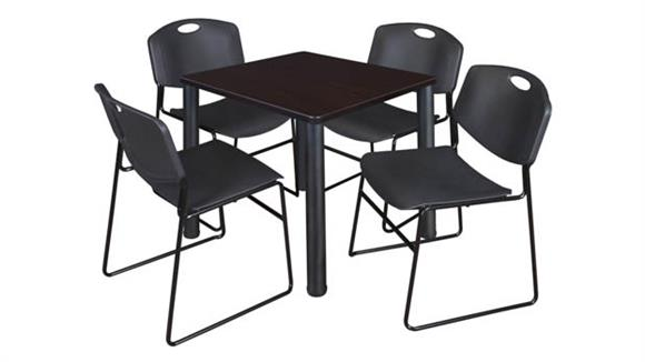 """Cafeteria Tables Regency Furniture 30"""" Square Breakroom Table- Mocha Walnut/ Black & 4  Zeng Stack Chairs"""
