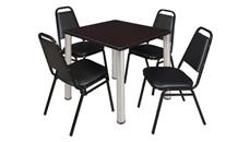 "Cafeteria Tables Regency Furniture 30"" Square Breakroom Table- Mocha Walnut/ Chrome & 4 Restaurant Stack Chairs- Black"