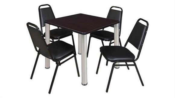 "Cafeteria Tables Regency Furniture 30"" Square Breakroom Table- Mocha Walnut/ Chrome & 4 Restaurant Stack Chairs- Black"