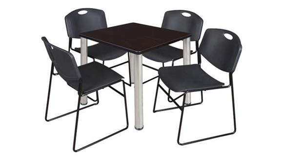 """Cafeteria Tables Regency Furniture 30"""" Square Breakroom Table- Mocha Walnut/ Chrome & 4 Zeng Stack Chairs"""