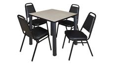 "Cafeteria Tables Regency Furniture 30"" Square Breakroom Table- Maple/ Black & 4 Restaurant Stack Chairs- Black"
