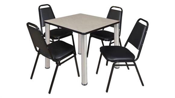 """Cafeteria Tables Regency Furniture 30"""" Square Breakroom Table- Maple/ Chrome & 4 Restaurant Stack Chairs- Black"""