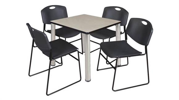 """Cafeteria Tables Regency Furniture 30"""" Square Breakroom Table- Maple/ Chrome & 4 Zeng Stack Chairs"""