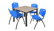 "Cafeteria Tables Regency Furniture 36"" Square Breakroom Table- Beige/ Black & 4"