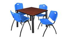 "Cafeteria Tables Regency Furniture 36"" Square Breakroom Table- Cherry/ Black & 4"