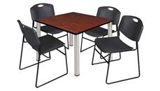 "Cafeteria Tables Regency Furniture 36"" Square Breakroom Table- Cherry/ Chrome & 4 Zeng Stack Chairs"
