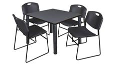 "Cafeteria Tables Regency Furniture 36"" Square Breakroom Table- Gray/ Black & 4 Zeng Stack Chairs"