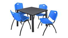 "Cafeteria Tables Regency Furniture 36"" Square Breakroom Table- Gray/ Black & 4"