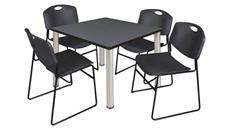 "Cafeteria Tables Regency Furniture 36"" Square Breakroom Table- Gray/ Chrome & 4 Zeng Stack Chairs"