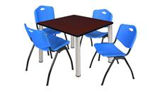 "Cafeteria Tables Regency Furniture 36"" Square Breakroom Table- Mahogany/ Chrome & 4"