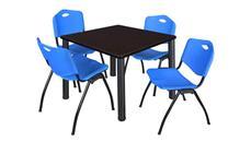 "Cafeteria Tables Regency Furniture 36"" Square Breakroom Table- Mocha Walnut/ Black & 4"