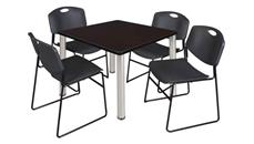 "Cafeteria Tables Regency Furniture 36"" Square Breakroom Table- Mocha Walnut/ Chrome & 4 Zeng Stack Chairs"