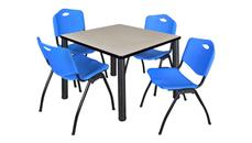 "Cafeteria Tables Regency Furniture 36"" Square Breakroom Table- Maple/ Black & 4"