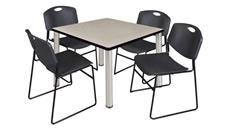 "Cafeteria Tables Regency Furniture 36"" Square Breakroom Table- Maple/ Chrome & 4 Zeng Stack Chairs"