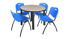 "Cafeteria Tables Regency Furniture 36"" Round Breakroom Table- Beige/ Black & 4"