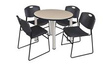 "Cafeteria Tables Regency Furniture 36"" Round Breakroom Table- Beige/ Chrome & 4 Zeng Stack Chairs"