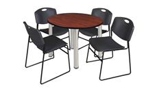 "Cafeteria Tables Regency Furniture 36"" Round Breakroom Table- Cherry/ Chrome & 4 Zeng Stack Chairs"