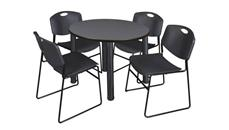 "Cafeteria Tables Regency Furniture 36"" Round Breakroom Table- Gray/ Black & 4 Zeng Stack Chairs"