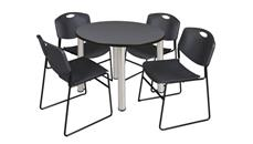 "Cafeteria Tables Regency Furniture 36"" Round Breakroom Table- Gray/ Chrome & 4 Zeng Stack Chairs"