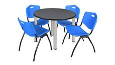 "Cafeteria Tables Regency Furniture 36"" Round Breakroom Table- Gray/ Chrome & 4"