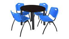 "Cafeteria Tables Regency Furniture 36"" Round Breakroom Table- Mocha Walnut/ Black & 4"
