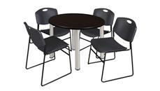 "Cafeteria Tables Regency Furniture 36"" Round Breakroom Table- Mocha Walnut/ Chrome & 4 Zeng Stack Chairs"