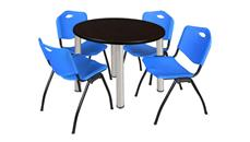 "Cafeteria Tables Regency Furniture 36"" Round Breakroom Table- Mocha Walnut/ Chrome & 4"