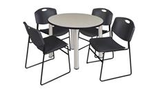 "Cafeteria Tables Regency Furniture 36"" Round Breakroom Table- Maple/ Chrome & 4 Zeng Stack Chairs"