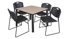 "Cafeteria Tables Regency Furniture 42"" Square Breakroom Table- Beige/ Black & 4 Zeng Stack Chairs"