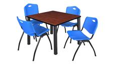 "Cafeteria Tables Regency Furniture 42"" Square Breakroom Table- Cherry/ Black & 4"